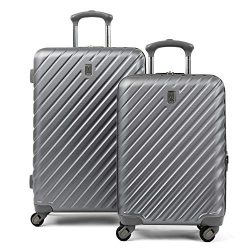Citadel Deluxe 20″ and 24″ Hardside Spinner Luggage Set by Travelpro, Gun Metal Gray