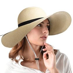 FURTALK Women Wide Brim Sun Hat Summer Beach Cap UPF50 UV Packable Straw Hat for Travel (Large S ...
