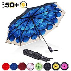 ABCCANOPY Umbrella Compact Rain&Wind Teflon Repellent Umbrellas Sun Protection with Black Gl ...
