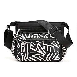 Womens Nylon Floral Shoulder Bag Crossbody Bag Messenger Bags Travel Handbags With Adjustable St ...