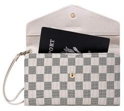 Krosslon Rfid Travel Passport Wallet for Women Slim Holder Wristlet Document Organizer (14# Whit ...