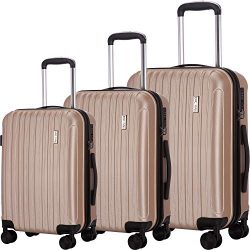 Luggage Set 3 Piece Suitcases ABS Trolley Suitcase Spinner Hardshell Lightweight TSA (Champagne)