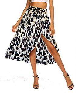Newchoice Summer Skirts for Women, Asymmetrical Hem Leopard Printed Wrap Skirt (M,Leopard Khaki)