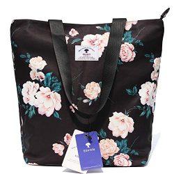 Original Floral Tote Bag Shoulder Bag for Gym Hiking Picnic Travel Beach ([W] upgraded large size 4)