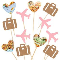 Newqueen 24 Pack Traveling Airplane Cupcake Toppers Pink Heart Map Luggage Plane Cupcake Picks T ...