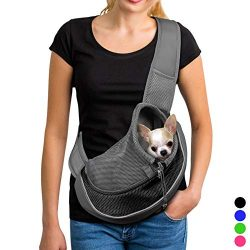 YUDODO Reflective Pet Dog Sling Carrier Breathable Mesh Travel Safe Sling Bag Carrier for Dogs C ...