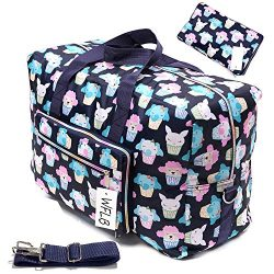 Womens Foldable Travel Duffel Bag 50L Large Cute Floral Travel Bag Hospital Bag Weekender Overni ...