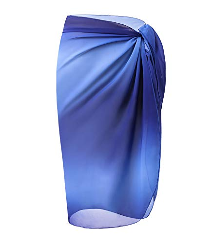 OmicGot Women Pareo Swimsuit Beach Swimwear Wrap Gradient Color Bikini Sarong Gradual Blue Middl ...