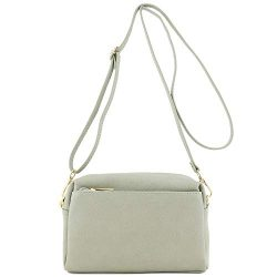 Triple Zip Small Crossbody Bag (Grey)