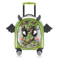 Kids Hardside Luggage, 3D cute Little Demon Design With Emoji sticker By Sindermroe (camo)
