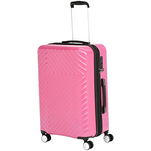 AmazonBasics Geometric Travel Luggage Expandable Suitcase Spinner with Wheels and Built-In TSA L ...