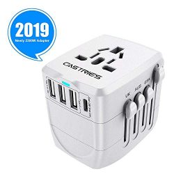 Castries Universal Travel Adapter, 2300W International Power Adapter with Dual Fuse, European Pl ...