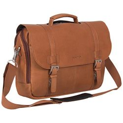 Kenneth Cole Reaction Show Business Full-Grain Colombian Leather Dual Compartment Flapover 15.6- ...