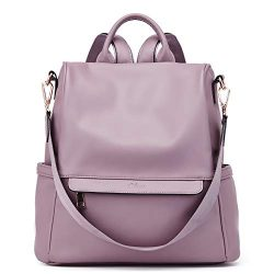 Women Backpack Purse Fashion Leather Large Travel Bag Ladies Shoulder Bags Purple