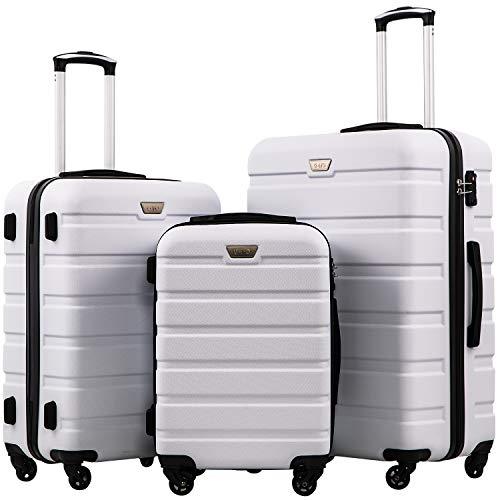 Coolife Luggage 3 Piece Set Suitcase Spinner Hardshell Lightweight TSA Lock 4 Piece Set (White)