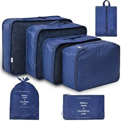Travel PackingCubesSet 7 Pcs Travel Organizer Waterproof with Portable Folding Packing Organiz ...