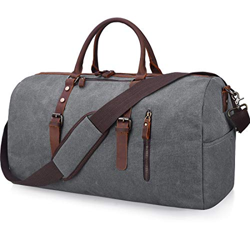 Travel Duffel Bag Large Canvas Duffle Bag for Men Women Leather Weekender Overnight Bag Carryon  ...