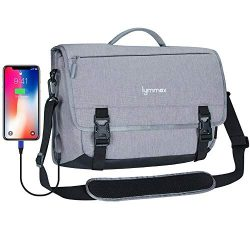 Lymmax Messenger Bag, Laptop Briefcase with USB Charging Port Waterproof Satchel Bag Crossbody f ...