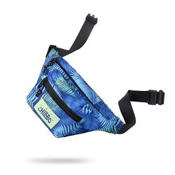 Chillbo Fanny Pack – Fanny Packs for Women and Waist Bags for Men (Blue Leaf)