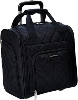 AmazonBasics Underseat Carry-On Rolling Travel Luggage Bag – Black Quilted