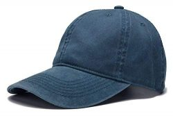 Edoneery Men Women Plain Cotton Adjustable Washed Twill Low Profile Baseball Cap Hat(A1008) (Navy)