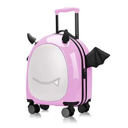 16 inch Kids Hardside Luggage, 3D cute Little Demon Design With Emoji sticker By Sindermroe (Pink)