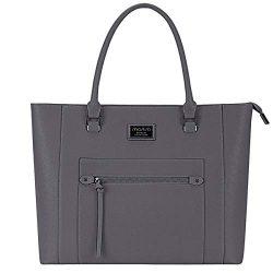 MOSISO Laptop Bag for Women,15.6 Inch Laptop Tote Bag Premium PU Leather Large Capacity Work Bus ...