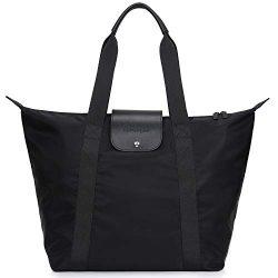 GoPenguin Large Nylon Travel Beach Tote Bag for Women, Shopping Bag Black