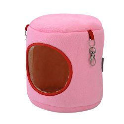 IslandseWarm Bed Rat Hammock Squirrel Winter Toys Pet Hamster Cage House Hanging Nest (Pink, S)