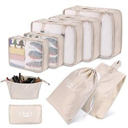 DIMJ Packing Cubes for Travel, 9 Pcs Compression Travel Cubes Set Foldable Suitcase Organizer Li ...