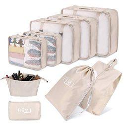 DIMJ Packing Cubes for Travel, 9 Pcs Compression Travel Cubes Set Foldable Suitcase Organizer Li ...
