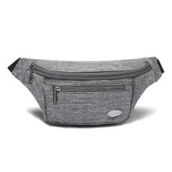 Entchin Fanny Pack for Hiking,Running and Travel (Light Gray)