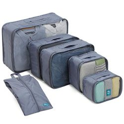 6 Set Packing Cubes/Travel Cubes – Travel Organizers with Shoe Bag-Gray