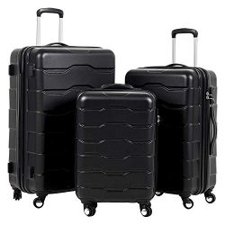 Murtisol 3 Pieces ABS Luggage Sets TSA Lock Lightweight Durable 210D Lining Trolley Cases Spinne ...