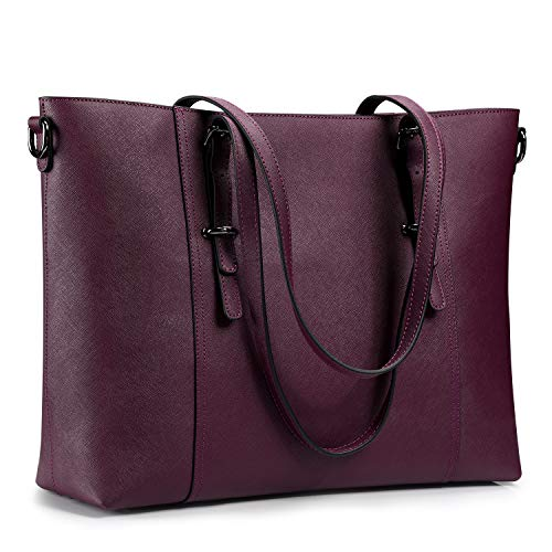 S-ZONE Leather Laptop Bag for Women Fits up to 15.6 inch Business Tote Shoulder Bag Purse Upgrad ...