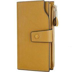 Itslife Women's RFID Blocking Large Capacity Luxury Wax Genuine Leather Clutch Wallet Card ...