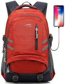 Backpack for School College Student Bookbag Travel Business with USB Charging Port (Orange Color)