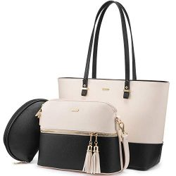 Handbags for Women Shoulder Bags Tote Satchel Hobo 3pcs Purse Set (Beige-1)