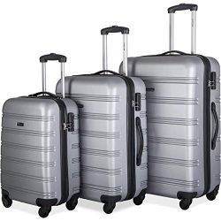 Merax Mellowdy 3 Piece Set Spinner Luggage Expandable Travel Suitcase 20 24 28 inch (Silver.)