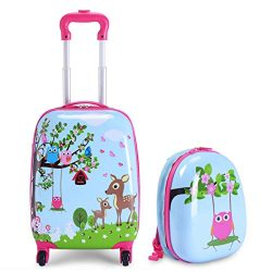 Goplus Kids Carry on Luggage Set, 2Pcs Kid Luggage with Spinner Wheels, Rolling Trolley Suitcase ...