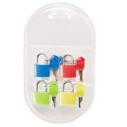 Juvale 4-Pack Mini Padlock Luggage Locks with Keys, 4 Colors, 0.9 x 1.3 x 0.3 Inches