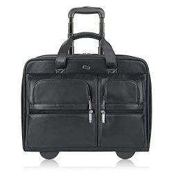 Solo New York Franklin Rolling Laptop Bag. Premium Leather Rolling Briefcase for Women and Men.  ...
