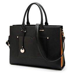 Laptop Bag for Women – 13-14 Inch Multi Pocket PU Leather Laptop Tote Bag – Design L ...