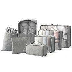 BIMNOOT Packing Cubes 7-Pcs Travel Luggage Packing Organizers Set with Laundry Bag & Shoe Ba ...