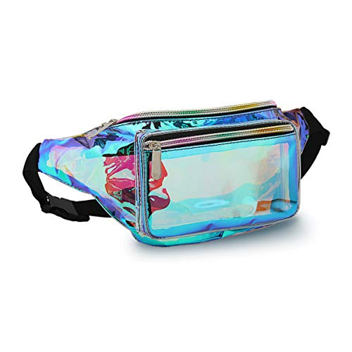 Holographic Fanny Pack for Women – Waist Fanny Pack with Adjustable Belt for Rave, Festiva ...
