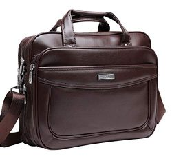 BOLO ARES Leather Laptop Briefcase 16 inch Water Resistant Large & Expandable Shoulder Bag B ...