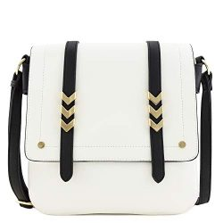 Double Compartment Large Flapover Crossbody Bag with Colorblock Straps White/Black