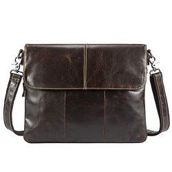 Vintage Leather Briefcase Messenger Bag for Men Business Travel Outdoor CrossBody Shoulder Pack  ...