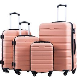 Coolife Luggage 3 Piece Set Suitcase Spinner Hardshell Lightweight TSA Lock 4 Piece Set (Family  ...