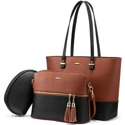 Handbags for Women Shoulder Bags Tote Satchel Hobo 3pcs Purse Set (Red Brown)
